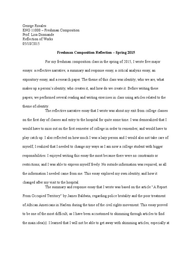 Eng 15 Class Reflection  Essays  Gender