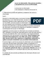 Dreptul de Acces La Informatie. Mecanisme Juridice de Apărare a Dreptului de Acces La Informație