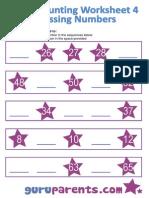 Preschool Math Counting on Missing Numbers Worksheet 4