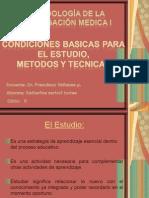 Metodos, tecnicas y condiciones del estudio