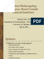 Common Otolaryngology Emergency Room Consults Michael Chao July 8, 2004