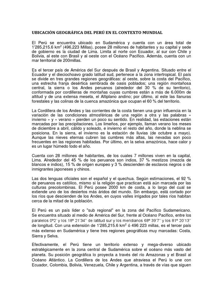 Ubicacion Geografica Del Peru En El Contexto Mundial Andes Peru