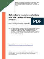 Fre (2013). Del Sistema Mundo Capitalista a La Tierra Como Sistema Vi..