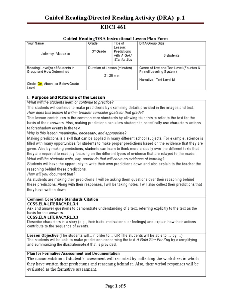 edci 461- guided reading dra lesson plan template spring 2015   Reading  Comprehension   Reading (Process)