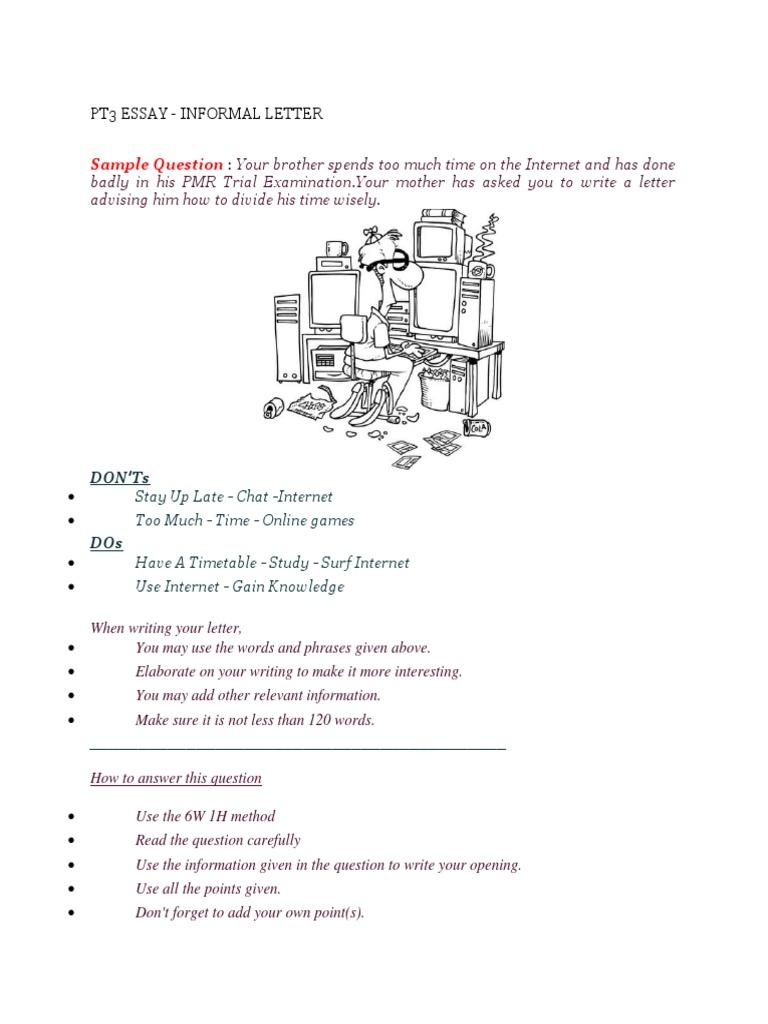 pt3 essay informal letter internet