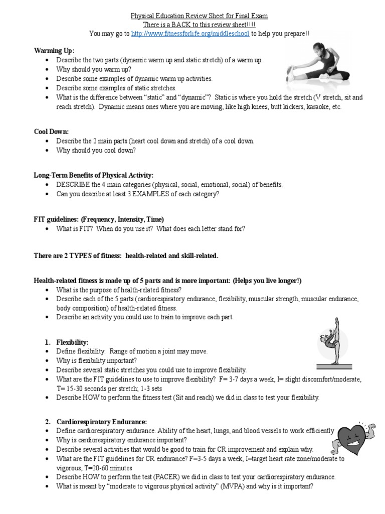 Semester Review Sheet For End Of Course Exam Physical Fitness