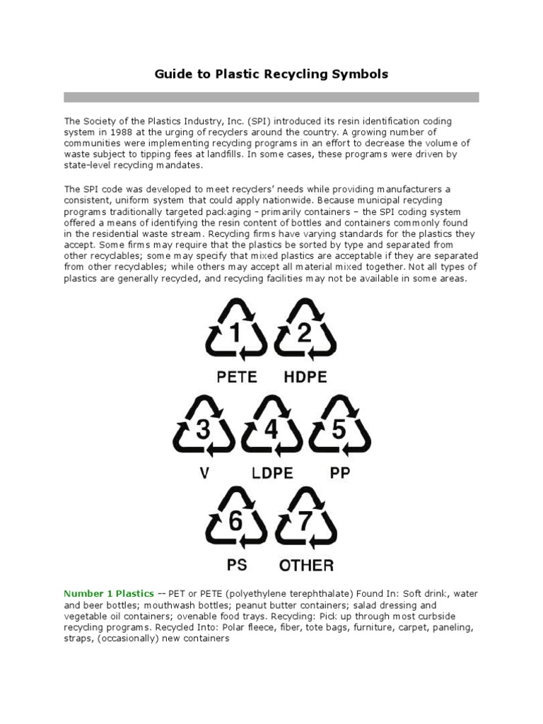 Guide To Plastic Recycling Symbols Recycling Polyvinyl Chloride