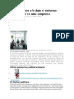 Factores Que Afectan Al Entorno Económico de Una Empresa