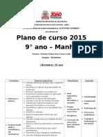 plano de curso de Matemática do 9° ano 2015