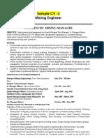 Mining Engineer Recruitment India CV 3