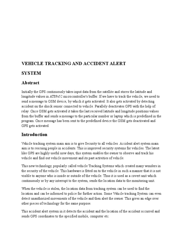 Vehicle Tracking and Accident Alert | Global Positioning
