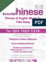 Ghinese& EnglishMeals to Take Away