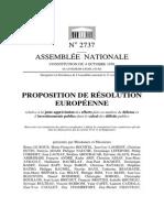 Proposition de Résolution Européenne MRC