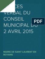 Procès Verbal du Conseil Municipal du 2 avril 2015