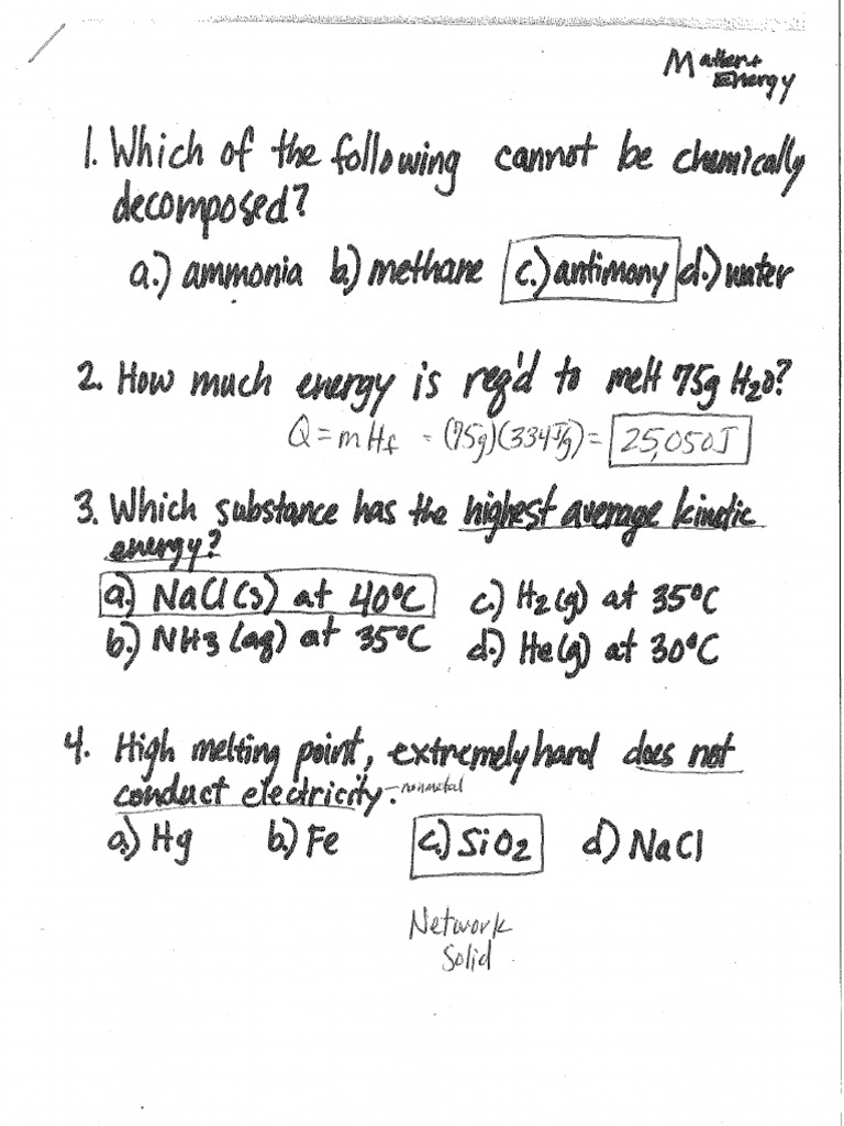 Chemistry Final Review Packet Answers