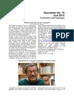 Juni 2015 (Newsletter Nr. 70)