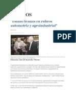 08-05-2015 El Universal - Estado Avanza en Rubros Automotriz y Agroindustrial
