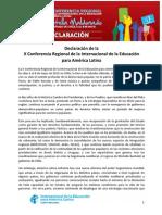 Declaración X Conferencia Regional IEAL