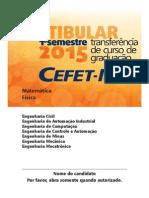 Prova CEFET MG Transferencia Engenharias Mat Fis 2015 1