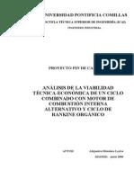 Análisis de La Viabilidad Técnica-económica de Un Mci Con Un Ciclo Rankine Organico