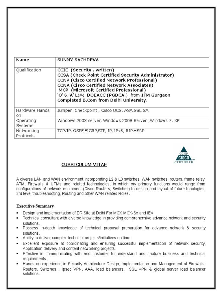 sunny resume  cisco certifications  virtual private network