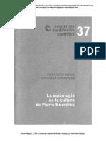 La Sociologia de La Cultura de Pierre Bourdieu