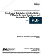 Aerodynamic Optimization of the Opel Calibra ITC Racing Car Using Experiments and Computational Fluid Dynamics