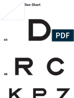 Modified Snellen Eye Chart 6m