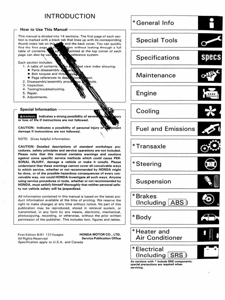 usdm 92 95 honda civic manual rh scribd com 2000 Honda Civic Hatchback 2000 Honda Civic Hatchback