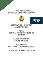 Bobina, Tipos y Cables de Bobina