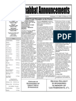 Shabbat Announcements, February 13, 2010