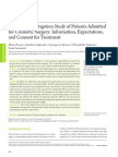 Cognitive Investigation Study of Patients Admitted for Cosmetic Surgery