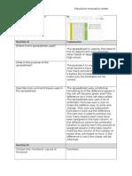 evaluation of education spreadsheet