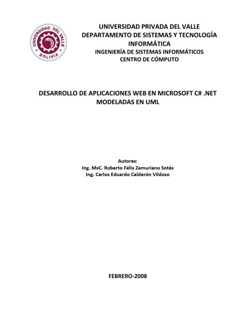 Desarrollo de aplicaciones Web en MicroSoft C# modeladas en UML