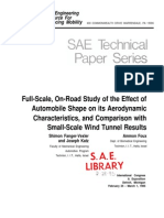 Full-Scale, On-Road Study of the Effect of Automobile Shape on Its Aerodynamic Characteristics, And Comparison With Small-Scale Wind Tunnel Results