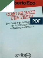 Como Se Hace Una Tesis - Umberto Eco