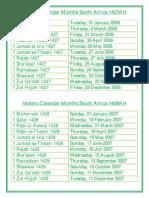 Islamic Calendar Months 2006 2020
