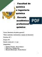 Laboratorio de Química informe de Reconocimiento de materiales