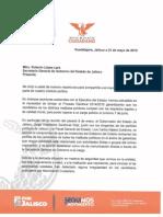 Carta a la Secretaría General de Gobierno del Estado de Jalisco