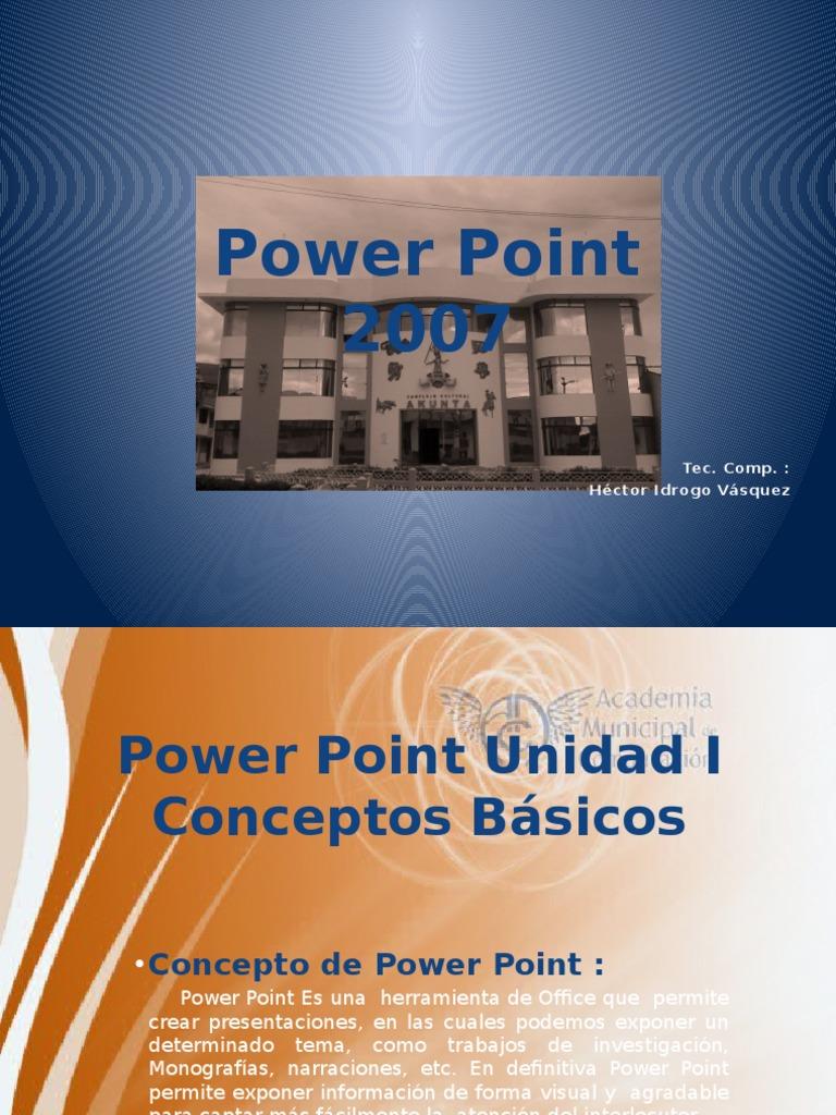 Diapositivas de Clases de Power Point.