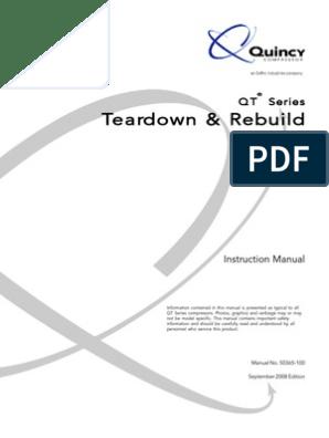 Quincy Compressor QT Series Repair Manual 50365-100SEP08 ... on