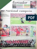 Portada DIARIO EL UNIVERSO Campeón Ecuatoriano de Fútbol 1996
