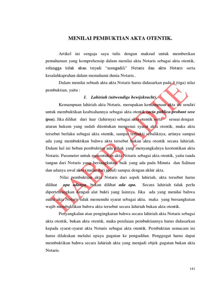 Menilai Pembuktian Akta Notaris Habib Adjie