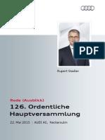 126. Ordentliche Hauptversammlung der AUDI AG, Ausblick