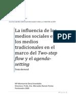 La influencia de los medios sociales en los medios tradicionales en el marco del Two step flow y el agenda-setting