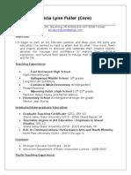 fuller (core) teaching resume