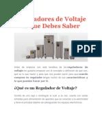 Importancia de Los Reguladores de Voltaje