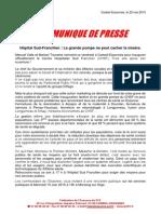 COMMUNIQUE de PRESSSE - Hôpital Sud-Francilien, La Grande Pompe Ne Peut Cacher La Misère - 22 05 2015