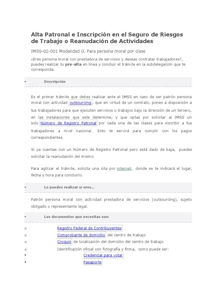 Alta Patronal e Inscripción en El Seguro de Riesgos de Trabajo o ...