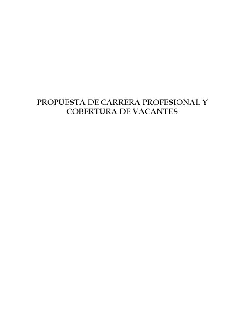 Propuesta de Carrera Profesional y Cobertura de Vacantes